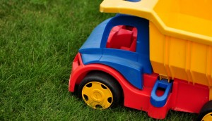 Toy truck in the grass